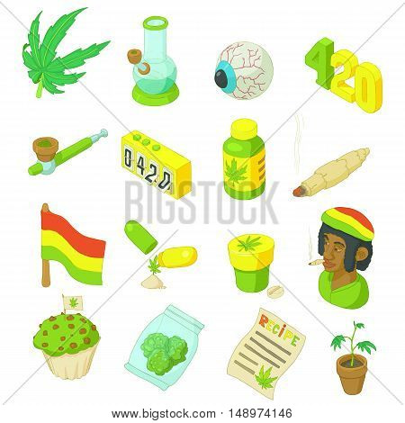 Rastafarian icons set in cartoon style. Marijuana smoking equipment set collection vector illustration