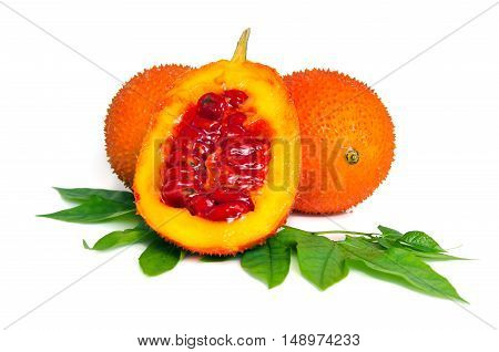 Gac Fruit, Typical Of Orange-colored Plant Foods In Asia With Half Cross Section Isolated On White