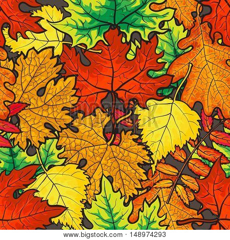 Bright and colorful autumn leaves seamless pattern, cartoon style vector illustration. Golden leaves seamless pattern for textile, prints, backgrounds, wrap and cards