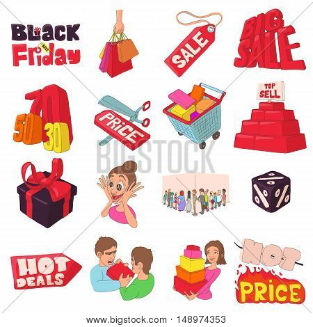 Black Friday icons set in cartoon style. Black Friday labels and badges set collection vector illustration
