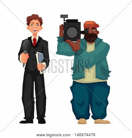 Beautiful male journalist, reporter and operator, cartoon style illustration isolated on white background. Full height cameraman and reporter, journalist taking interview