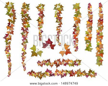 Set of autumn vector ivy branches growing from the top downwards and upwards. This elements can be used as a Art Brush to create of any curled from for decorate card frames and corners.