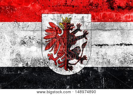 Flag Of Kuyavian-pomeranian Voivodeship With Coat Of Arms, Poland, Painted On Dirty Wall