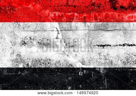 Flag Of Kuyavian-pomeranian Voivodeship, Poland, Painted On Dirty Wall