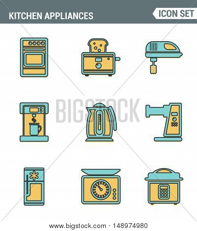 Icons line set premium quality of kitchen utensils household tools and tableware. Modern pictogram collection flat design style symbol . Isolated white background
