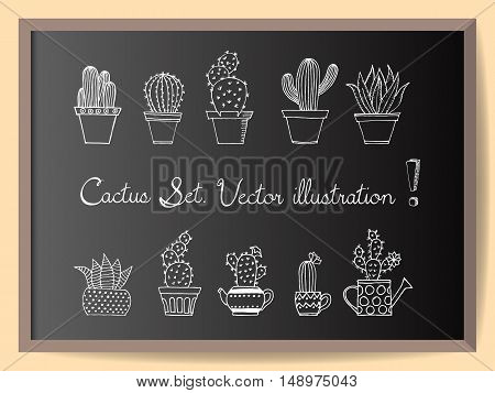 Hand Drawn Cactus Set In Simple Doodle Style On Chalkboard. Potted Cacti Collection. Decorative Hous
