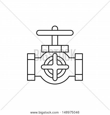 Pipe with a valves icon in outline style on a white background vector illustration