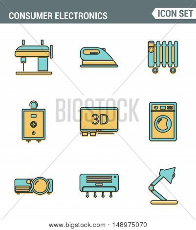 Icons line set premium quality of home appliances household consumer electronics. Modern pictogram collection flat design style symbol . Isolated white background.