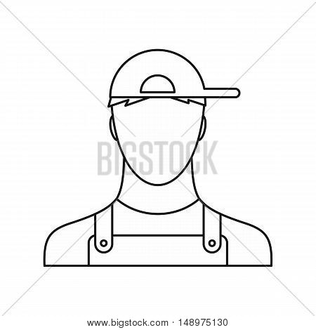 Plumber icon in outline style on a white background vector illustration