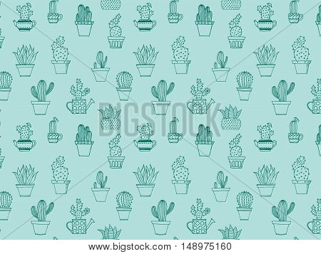 Hand Drawn Background With Cute Cactus In Simple Style. Cute Doodle Potted Cacti Background. Vector