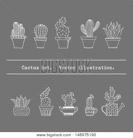 Hand Drawn Cactus Set In Simple Doodle Style. Potted Cacti Collection. Decorative Houseplants. Vecto