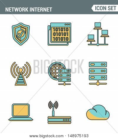 Icons line set premium quality of cloud computing network internet data technology. Modern pictogram collection flat design style symbol . Isolated white background.