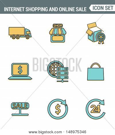 Icons line set premium quality of internet shopping retail store and online sales. Modern pictogram collection flat design style symbol . Isolated white background