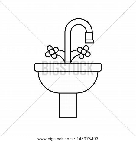 Sink in the bathroom icon in outline style on a white background vector illustration