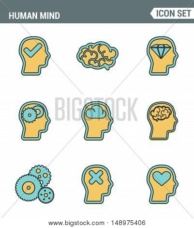 Icons line set premium quality of human mind process brain features and emotions. Modern pictogram collection flat design style symbol . Isolated white background