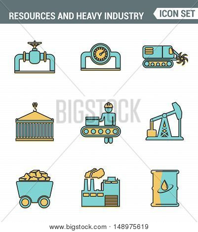 Icons line set premium quality of heavy industry power plant mining resources. Modern pictogram collection flat design style symbol. Isolated white background