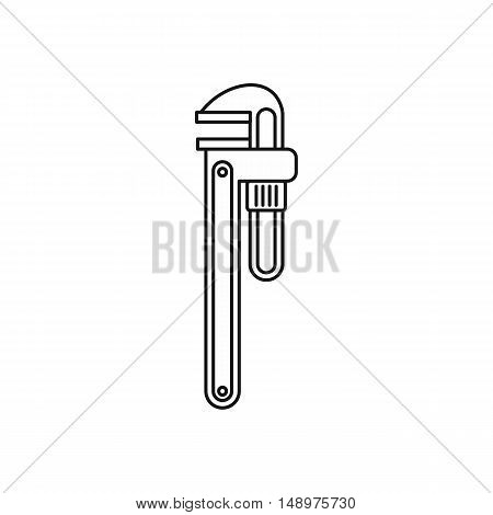 Pipe or monkey wrench icon in outline style on a white background vector illustration