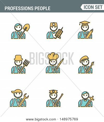 Professional business people line avatars. Character flat design icons set with doctor teacher businessman farmer scientist chef designer priest plumber policeman