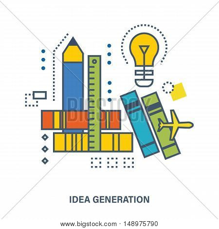 Design concept - idea generation, search for solutions, brainstorming, creativity and creative thinking.