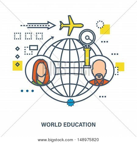 Global and world education - concept vector illustration. Illustration can be used to illustrate the education, science and communications.