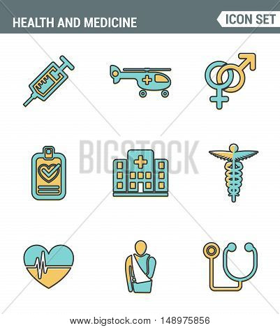 Icons line set premium quality of healthcare professionals and medical equipment. Modern pictogram collection flat design style symbol . Isolated white background