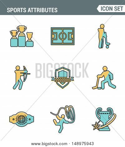 Icons line set premium quality of sports attributes fans support club emblem. Modern pictogram collection flat design style symbol . Isolated white background