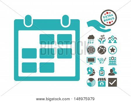 Calendar Month icon with bonus clip art. Vector illustration style is flat iconic bicolor symbols grey and cyan colors white background.