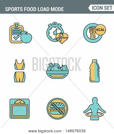 Icons line set premium quality of fitness icon. Sports food load mode burn calories healthy diet. Modern pictogram collection flat design style symbol. Isolated white background