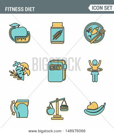 Icons line set premium quality of fitness diet promises more effective weight loss. Modern pictogram collection flat design style symbol . Isolated white background