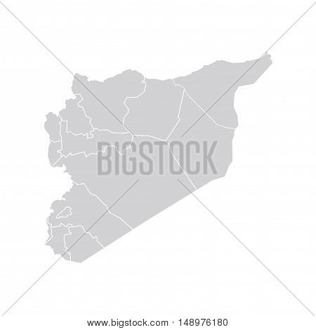 Vector Syria State Boundaries Map Pale Grey