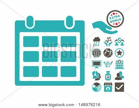 Calendar pictograph with bonus pictures. Vector illustration style is flat iconic bicolor symbols grey and cyan colors white background.