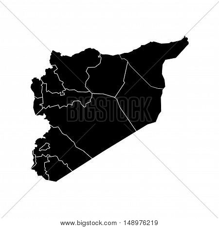 Isolated Vector Syria State Boundaries Map Black