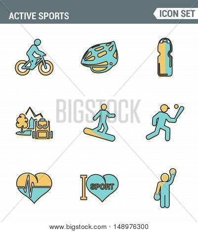 Icons line set premium quality of active sports love sportsman vector icon. Modern pictogram collection flat design style symbol . Isolated white background