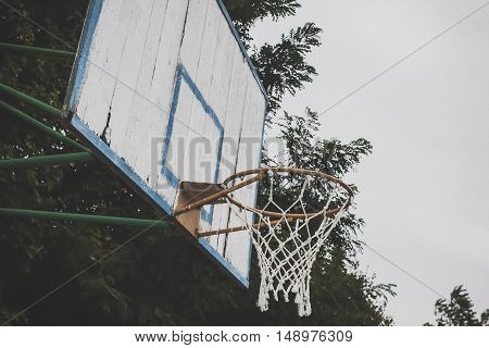 Basketball hoop in the public arena, basketball Hoop against the sky