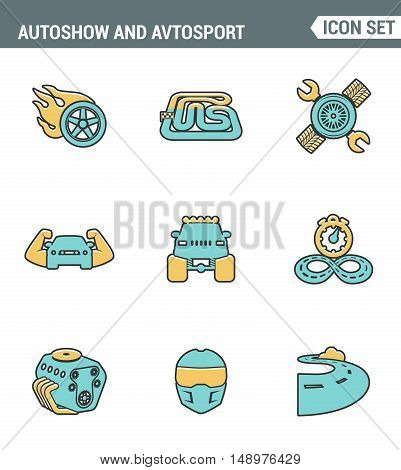 Icons line set premium quality of autoshow and avtosport monster truck engine car racing rally muscle . Modern pictogram collection flat design style symbol . Isolated white background