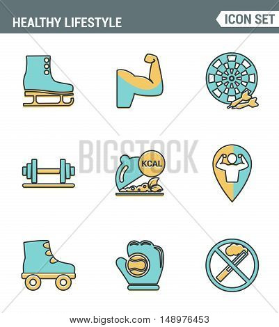 Icons line set premium quality of healthy lifestyle icon collection gym rollers baseball fitness sport. Modern pictogram flat design style symbol . Isolated white background