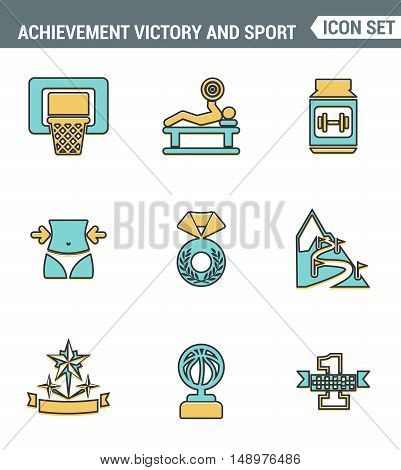 Icons line set premium quality of achiement victory sport icon champion first place. Modern pictogram collection flat design style symbol . Isolated white background