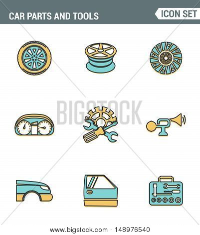 Icons line set premium quality of car parts tools icon transport workshop service mechanic. Modern pictogram collection flat design style symbol . Isolated white background