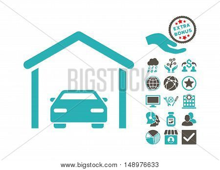 Car Garage pictograph with bonus elements. Vector illustration style is flat iconic bicolor symbols grey and cyan colors white background.
