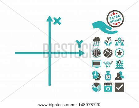 Cartesian Axes pictograph with bonus symbols. Vector illustration style is flat iconic bicolor symbols grey and cyan colors white background.