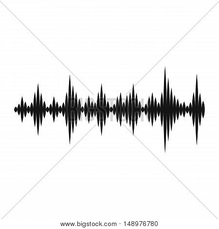 Music sound waves icon in simple style on a white background vector illustration