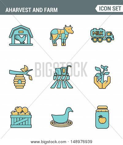 Icons line set premium quality of agriculture and agronomy icon farming feeding business. Modern pictogram collection flat design style symbol . Isolated white background