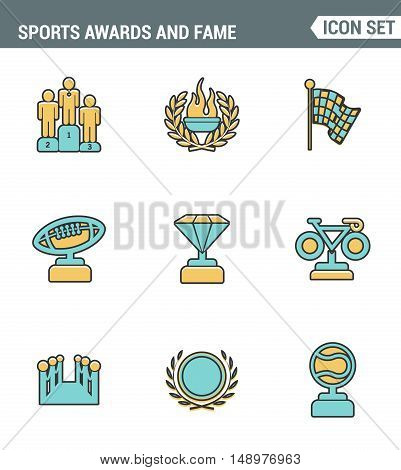 Icons line set premium quality of awards and fame emblem sport victory honor. Modern pictogram collection flat design style symbol . Isolated white background