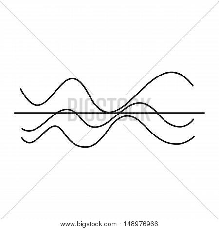 Sound waves icon in simple style on a white background vector illustration