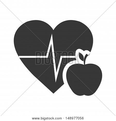 cardio pulse heart with apple fruit icon silhouette. vector illustration