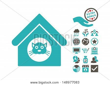 Cat House icon with bonus pictograph collection. Vector illustration style is flat iconic bicolor symbols grey and cyan colors white background.