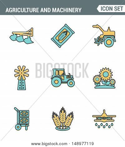 Icons line set premium quality of agriculture and machinery transportation tractor technology. Modern pictogram collection flat design style symbol . Isolated white background