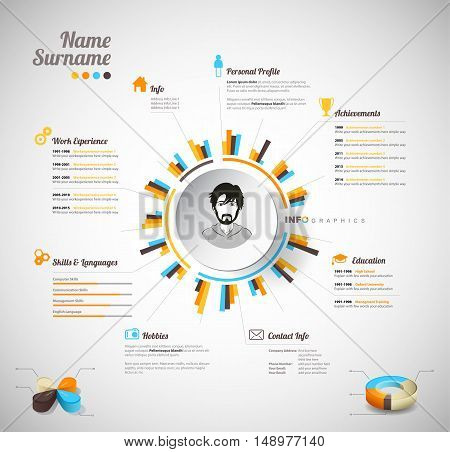 Creative color rich CV / resume template with circle in the center and place for your personal photo.
