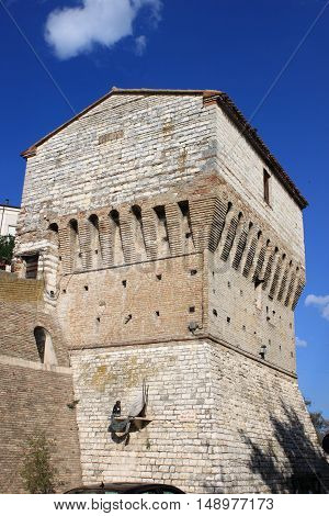 Closeup of the Fortification tower in Sirolo, Italy