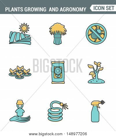 Icons line set premium quality of plants growing and agronomy farming farmer bio stem. Modern pictogram collection flat design style symbol . Isolated white background